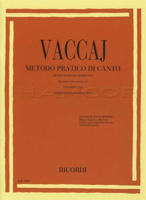 Vaccai Metodo Pratico Di Canto Mezzo-Soprano Baritone Book/CD
